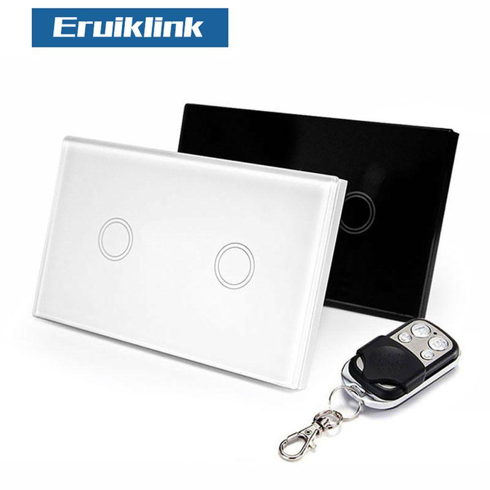 Eruiklink US/AU Standard 2 Gang 1 voie télécommande murale interrupteur tactile, RF433 télécommande interrupteur pour maison intelligente