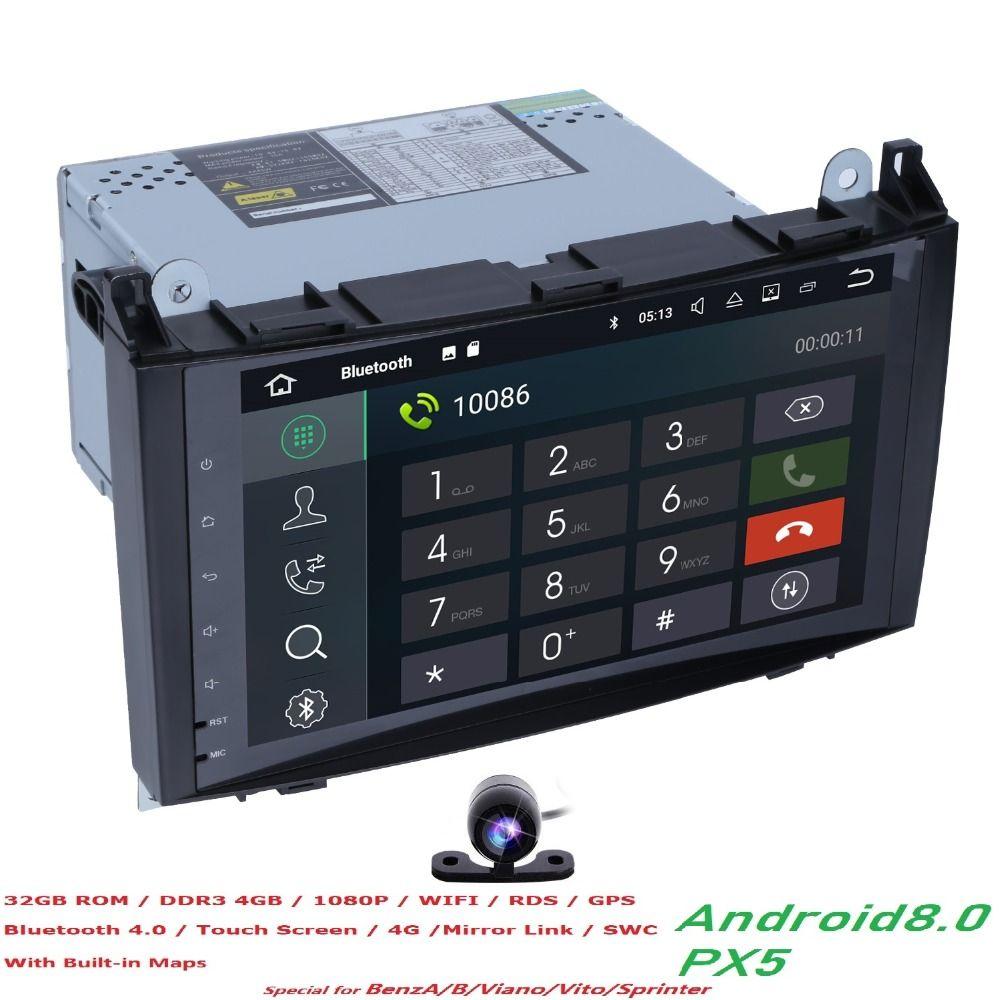 4 + 32 PX5 Auto Multimedia-Player GPS Android 8.0 2 Din Für Mercedes/Benz/Sprinter/B200/ b-klasse/W245/B170/W209/W169 Wifi Autoradio
