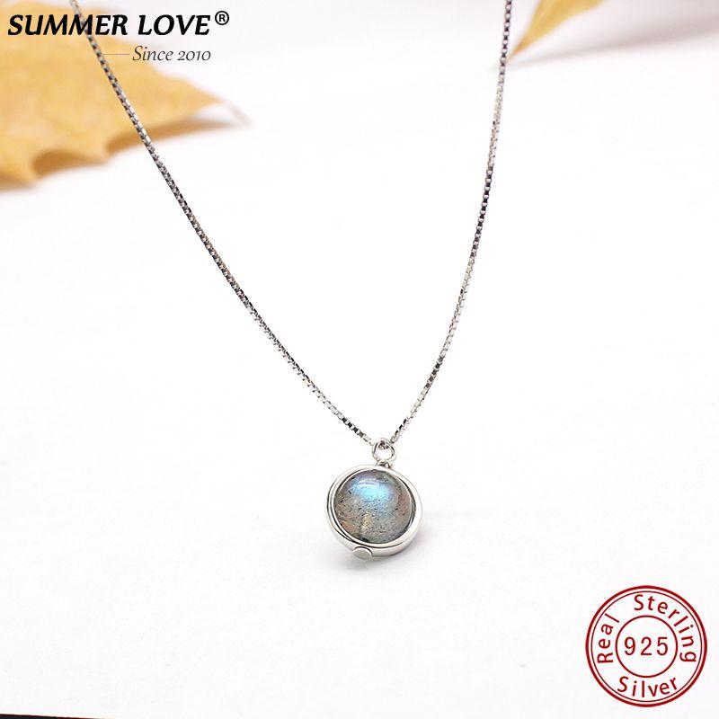 Véritable S925 en argent Sterling Labradorite pendentif collier pour les femmes bijoux fins Nature pierres précieuses à la main bijoux femme