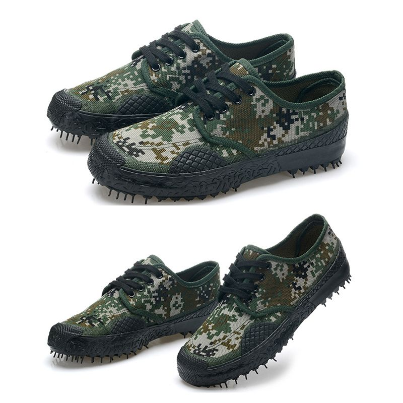 Spring autumn outdoor men hiking climbing training ankle shoes military camouflage canvas rubber bottom low liberation shoes