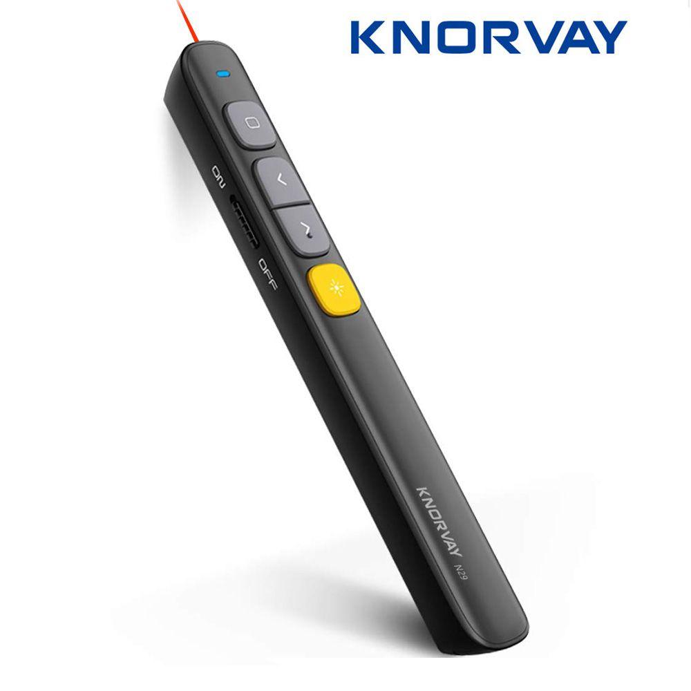 Knorvay N29 présentateur sans fil, RF 2.4GHz présentation Powerpoint télécommande PPT Clicker présentation Laser stylo