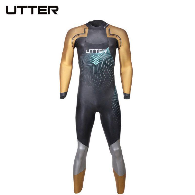 UTTER Elitepro Men's Gold SCS Triathlon Neoprene Wetsuit Long Sleeve Swimming Suits for Swimwear Running and Cycling