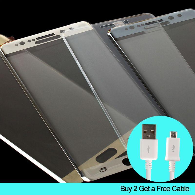 3D teléfono completo protector de pantalla Premium protector de vidrio templado Películas para Samsung Galaxy S 6 7 C6 borde negro oro Blanco
