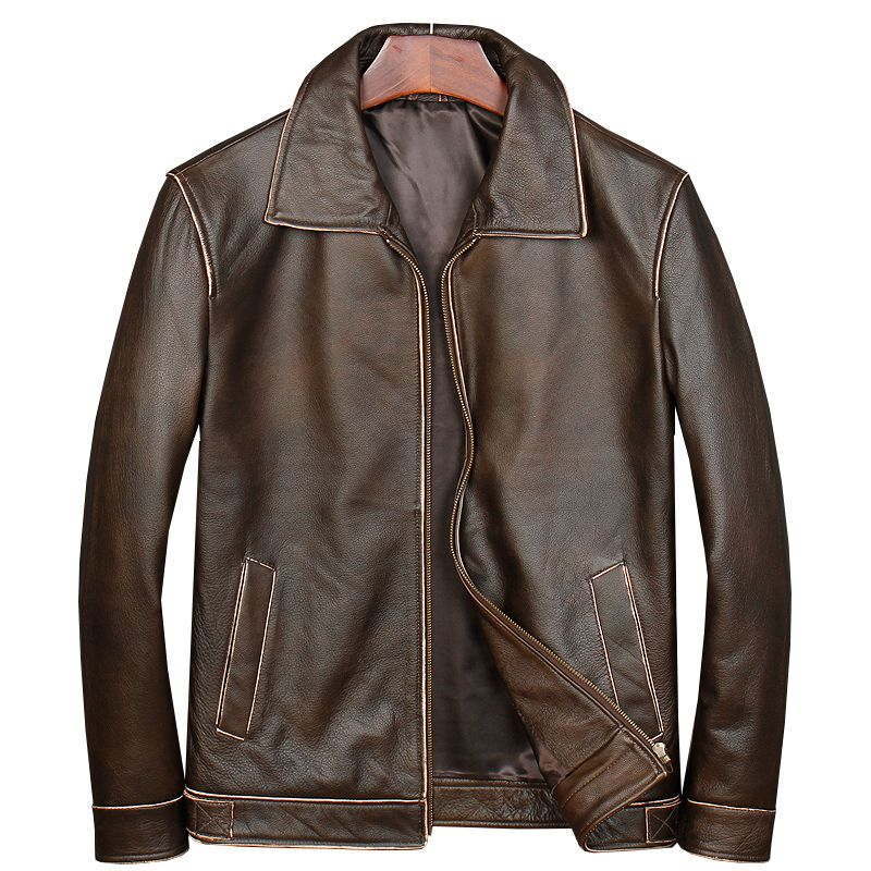 HARLEY DAMSON Vintage Brown Classic Casual Leather Jacket Plus Size XXXXXL Genuine Cowhide Slim Fit Russian Spring Leather Coat