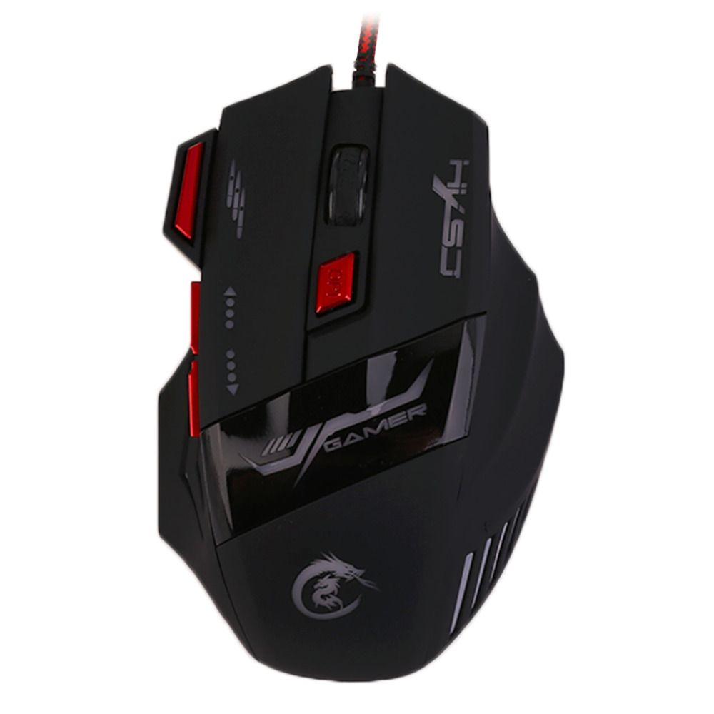 H100 Professionelle Gaming Geräte Einstellbare 5500 DPI Wired Gaming Mouse 7 Tasten Lumineszenz Computer-maus Drop Shipping