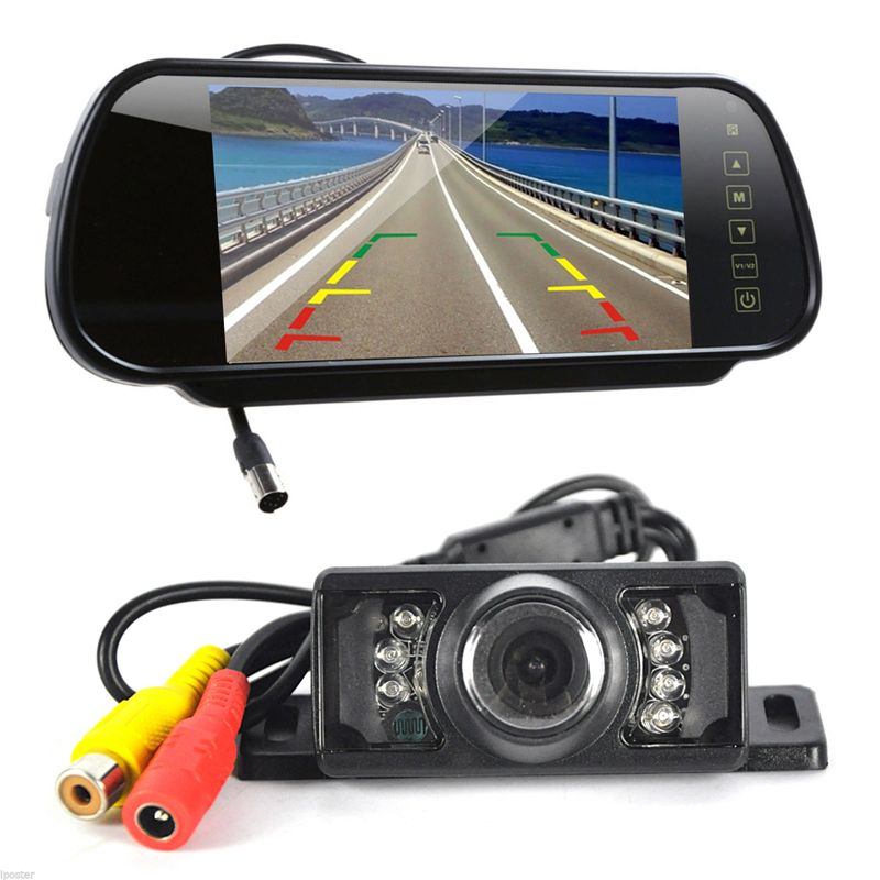 BORUiT 7 inch Car DVR Camera Rearview Mirror Monitor Auto HD Parking Monitors System Night Vision Reverse Rear View Camera