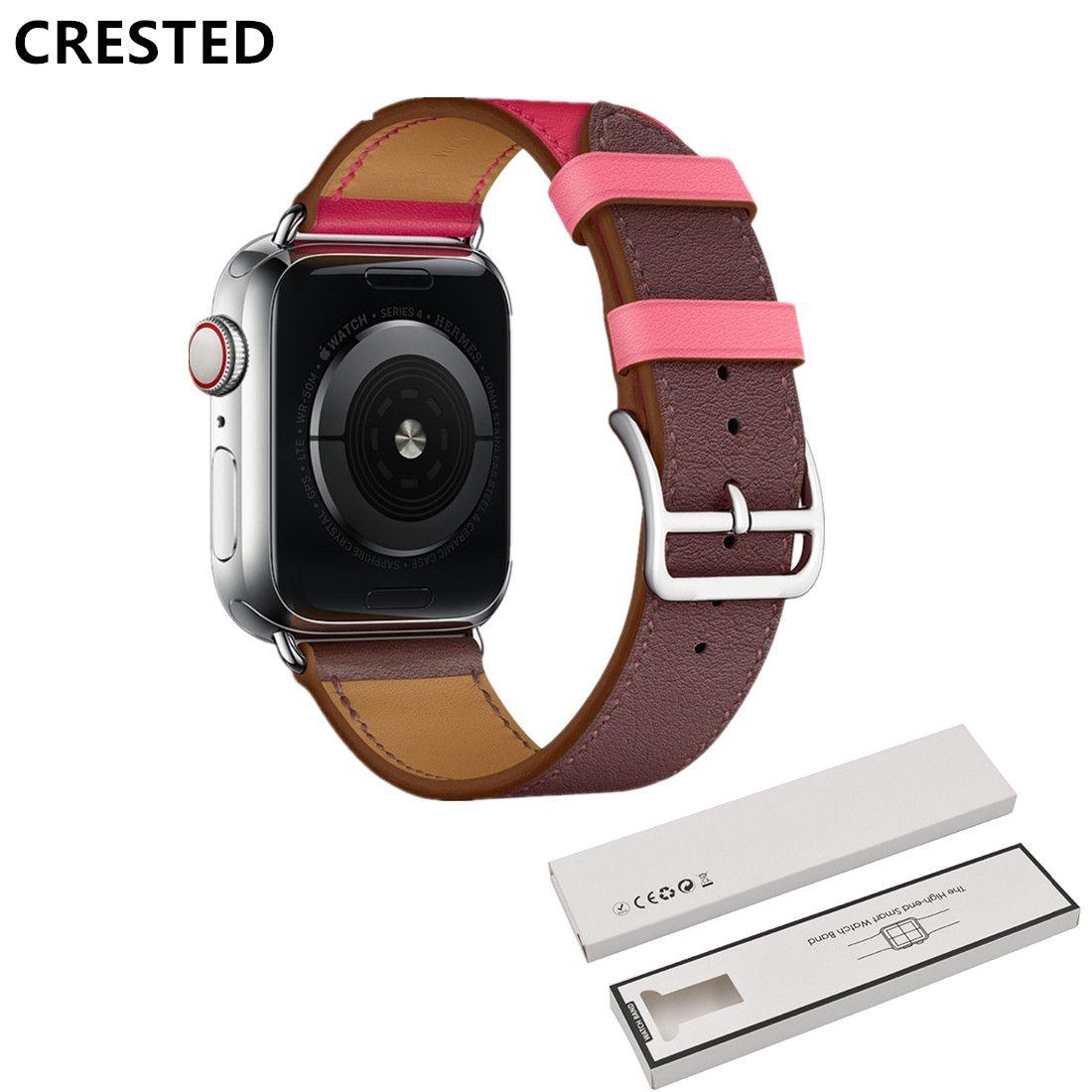 CRESTED single tour Leather strap For Apple Watch band 4 44mm 40mm bracelet iwatch series 3/2/1 42mm 38mm Wrist bracelet belt