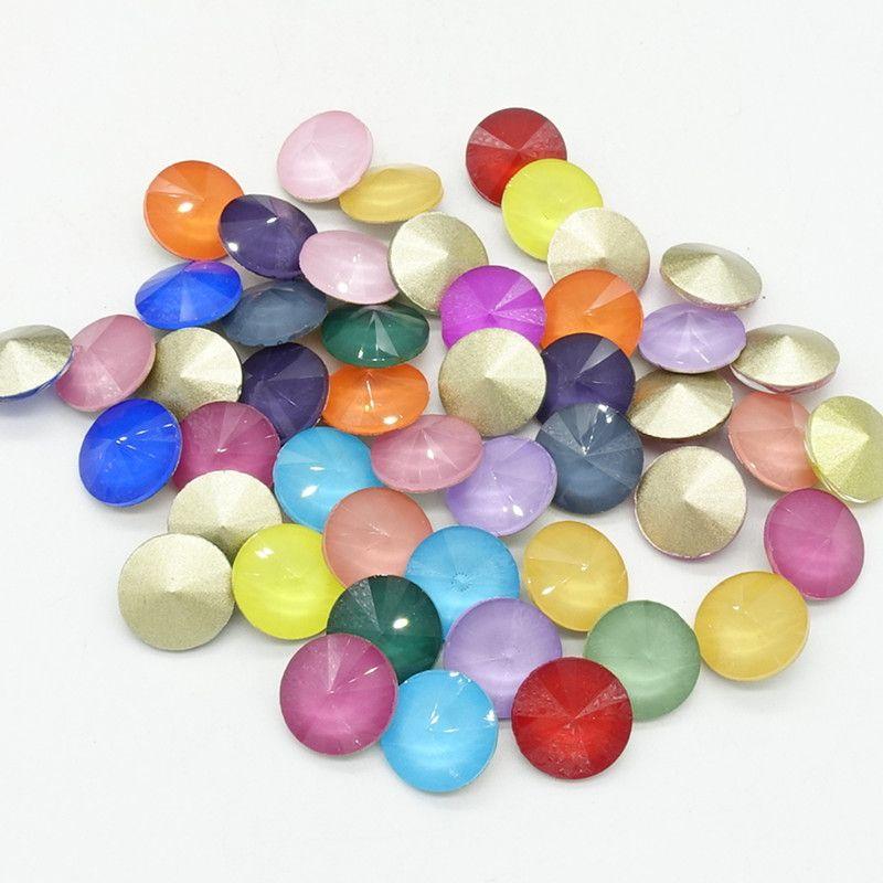 Wholesale new Mocha ELEMENTS Rhinestone Crystal glass Rivoli loose Round Beads 10mm12mm14mm