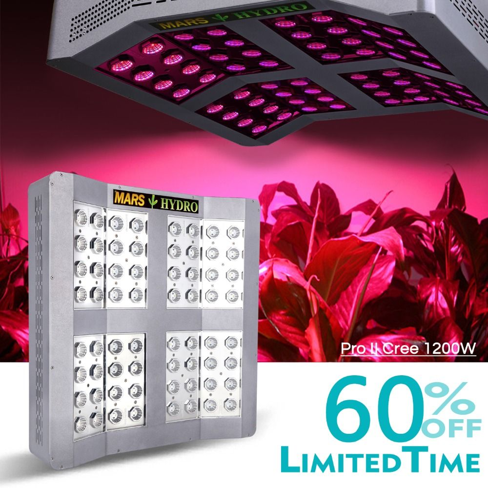 Mars Hydro Mars Pro II CreeLEDs 1200W LED Grow Light Best Veg Flower Plant True 660W
