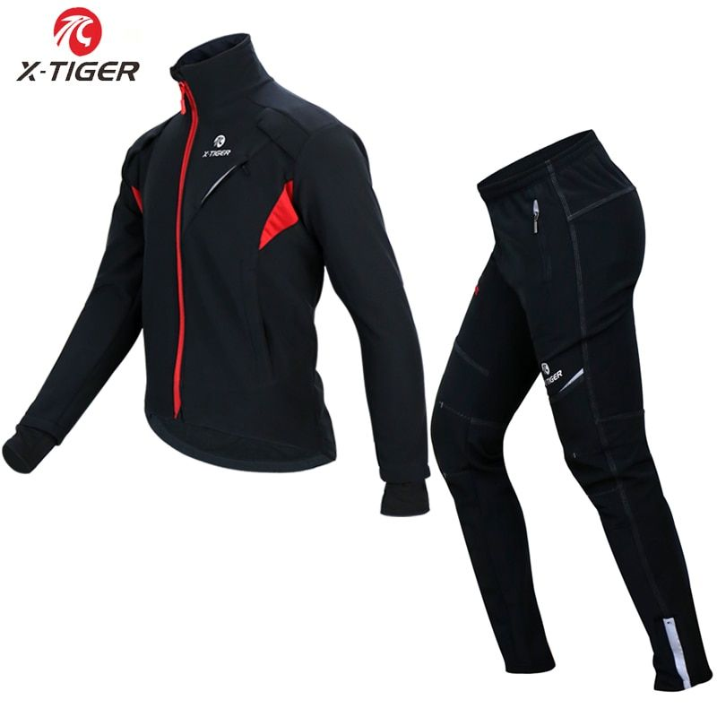 X-TIGER Cycling Jersey Winter Thermal Fleece Cycling Clothing Windproof Waterproof Bicycle Reflective Cycling Jacket Sportswear