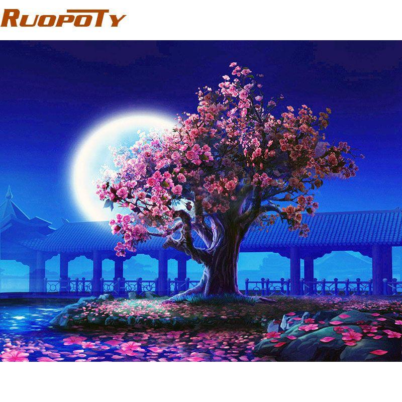 RUOPOTY romantique lune nuit paysage peinture à la main par numéros Kits moderne mur Art photo peint à la main pour la décoration de la maison 40x50 cm