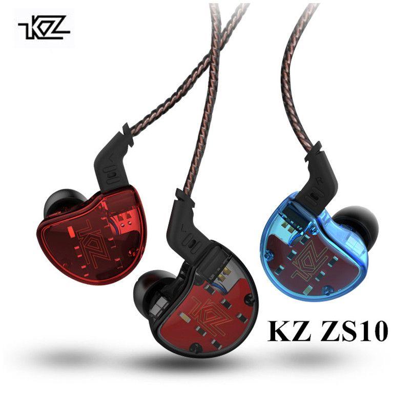 KZ ZS10 Earphone 4BA 1BA with 1DD Dynamic Hybrid In Ear Earphones Sport KZ Bluetooth Earphones 5 Drive 1BA KZ ES4