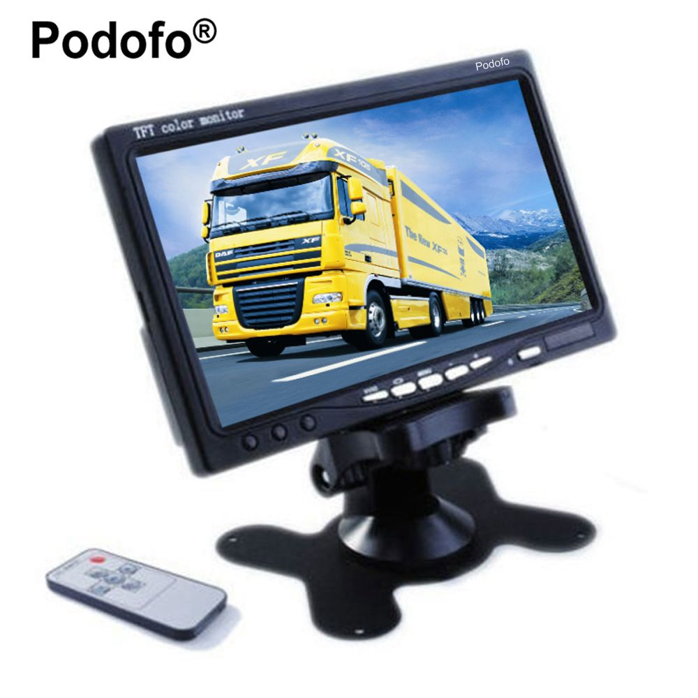 Podofo 7 TFT Farbe LCD Kopfstütze Parkplatz Ansicht-rück Monitor Mit 2 Video-eingang 2 AV In Für DVD VCD Rückfahrkamera