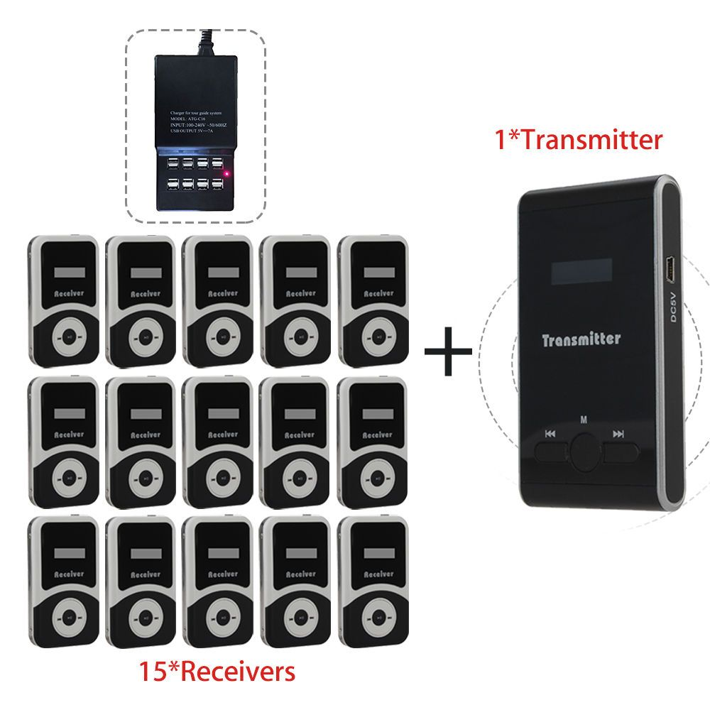 Free Charger ATG100 Wireless Tour Guide System 1Transmitter+15 Receivers For Meeting Visiting Teaching 195-230MHz Portable