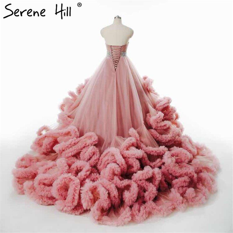 Lujo Princesa Ruffles Tren Nube Dubai Designer Plus Tamaño del vestido de Bola Vestidos de Novia 2017 Vestidos De Noiva Robe De Mariage