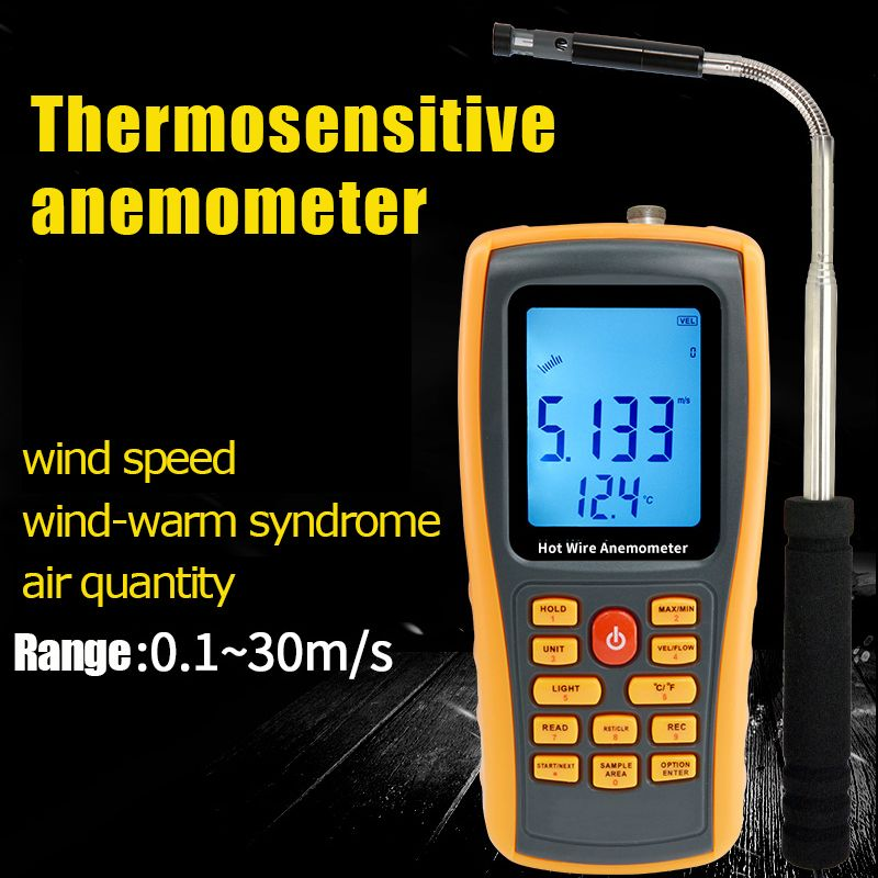 2018 Good quality Hot Wire Digital Anemometer 0~30ms Air Temperature Meter 0~45C Wind Speed Flow Tester with USB