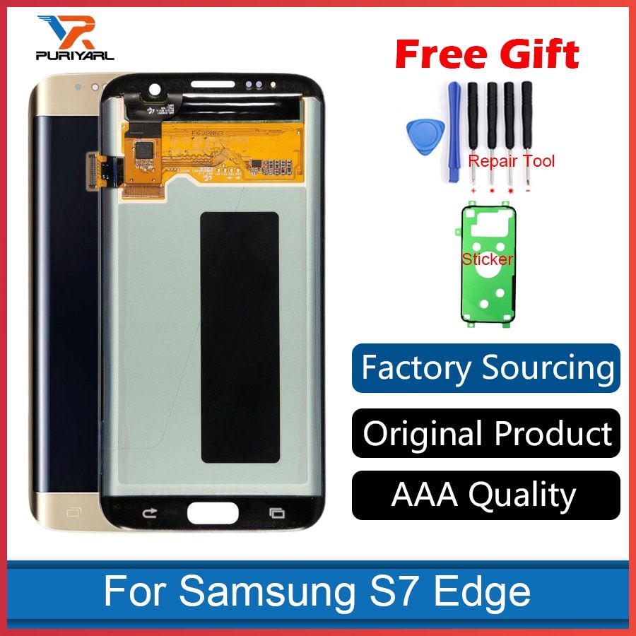 100% Original Super AMOLED Screen For Samsung Galaxy S7 Edge G935F G935FD LCD Display Touch Screen Digitizer Repair Replacement
