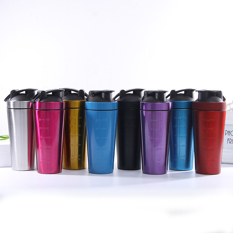 Stainless Steel Protein Shaker Bottle Gym Shaker Kettle Sport Milkshake Mixer Water Bottle Whey Protein for Fitness BPA Free