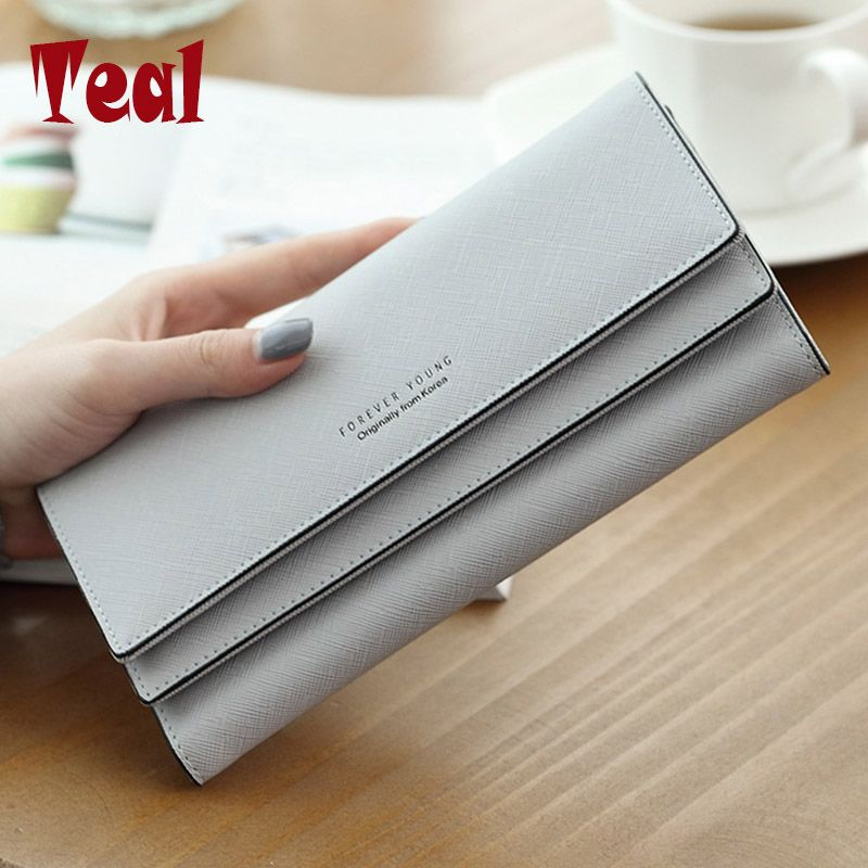Women's purse women wallet women card holder coin purse coin female wallet long large <font><b>capacity</b></font> wallet female clutch 3 folders