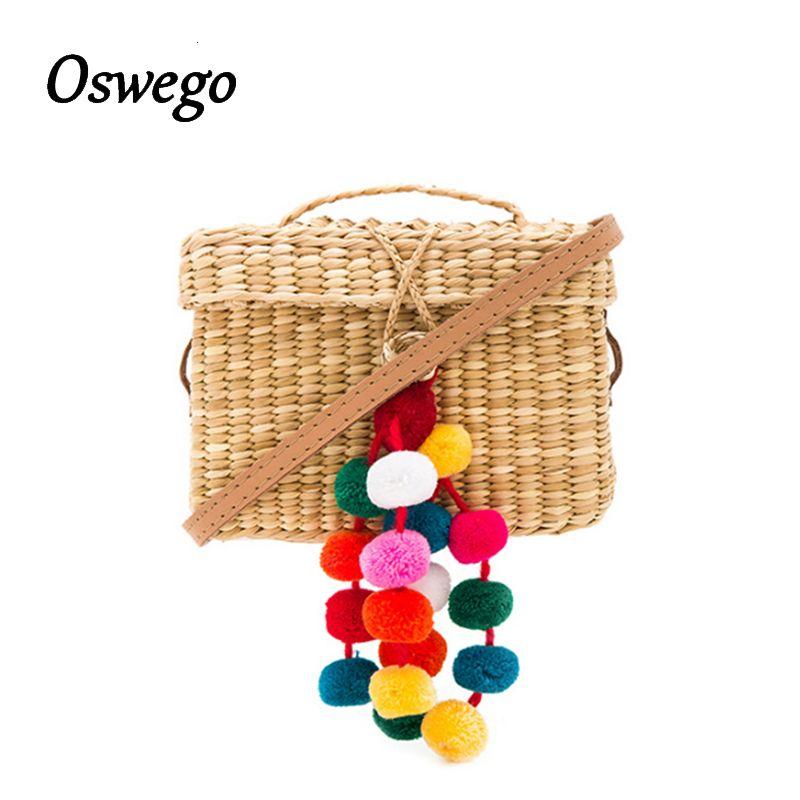 OSWEGO Straw Bag Color Ball <font><b>Decoration</b></font> Women Summer Beach Bag Cover Basket Shape For Travel Lined with Handmade Drawstring Bag