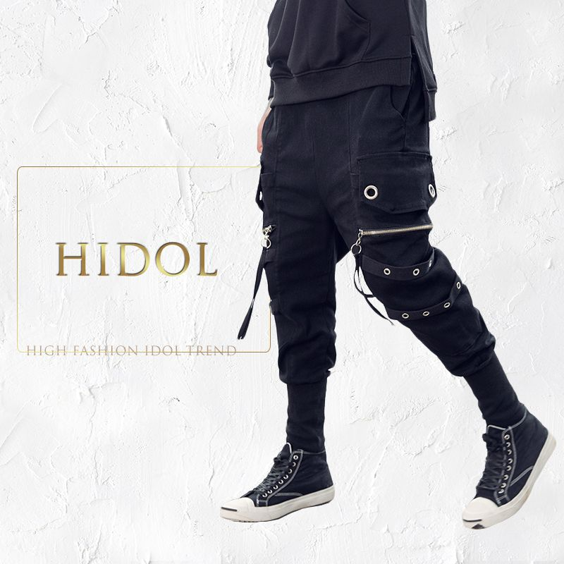 Iron Hoop Zipper Pocket Ribbon Denim Jeans Biker Men Punk Rock Hip Hop Cargo Harem Pants Brand Kanye West Black Denim Trousers