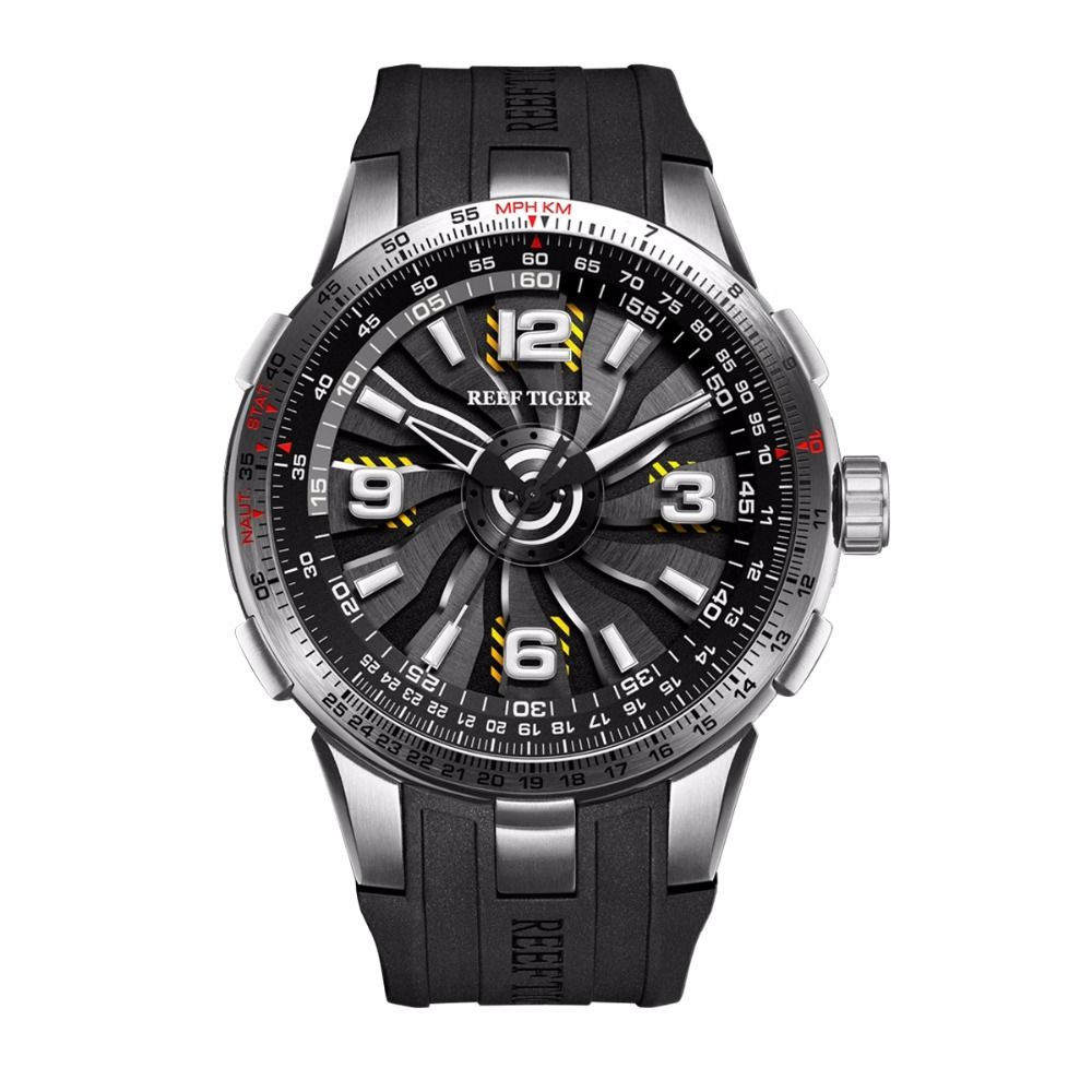 New Reef Tiger/RT Military Watches for Men Steel Automatic Watches Rubber Strap Whirling Dial Sport Watch RGA3059