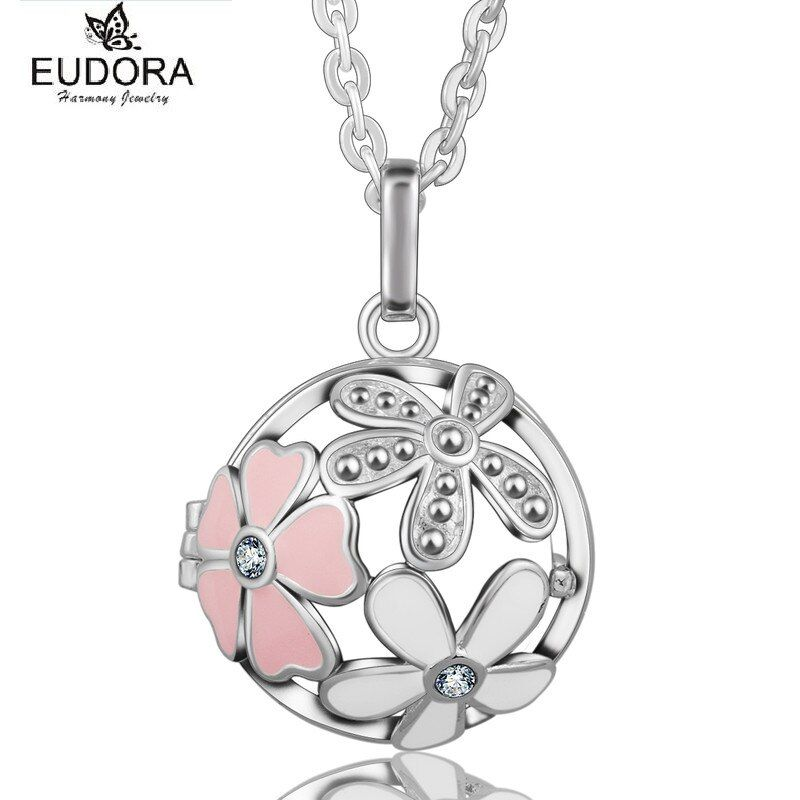 EUDORA harmonie Bola fleur rose 20mm médaillon pendentif collier ange musique carillon boule 30 pouces chandail chaîne pour les femmes meilleur cadeau