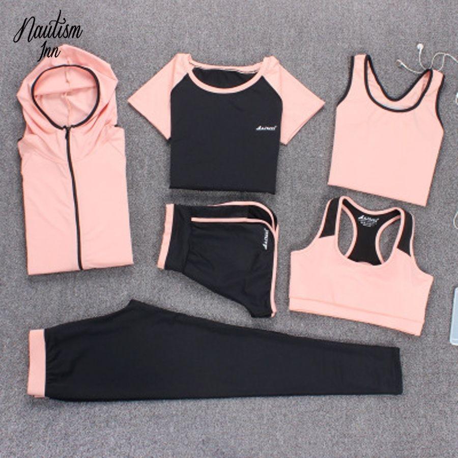 6 PCS Yoga Set Sport Suit Women Fitness Set Gym Clothing Plus Size Tennis Suit Workout Tracksuit Running Active Sport Wear XXXL