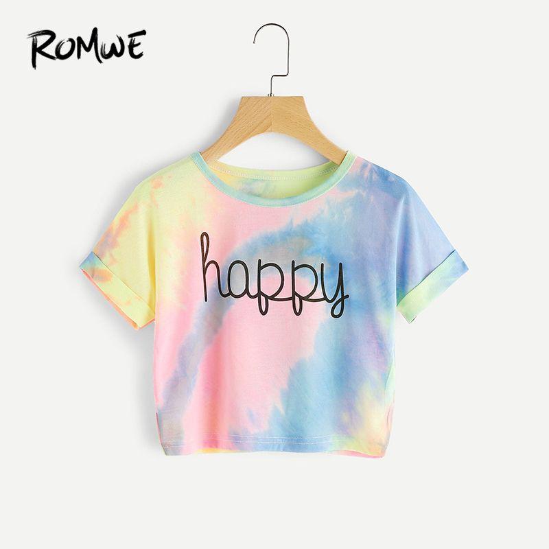 ROMWE Happy T-Shirt à colorant Pastel arc-en-ciel, T-Shirt imprimé lettre femme, plage à Bar, T-Shirt court de soirée, 2019 été