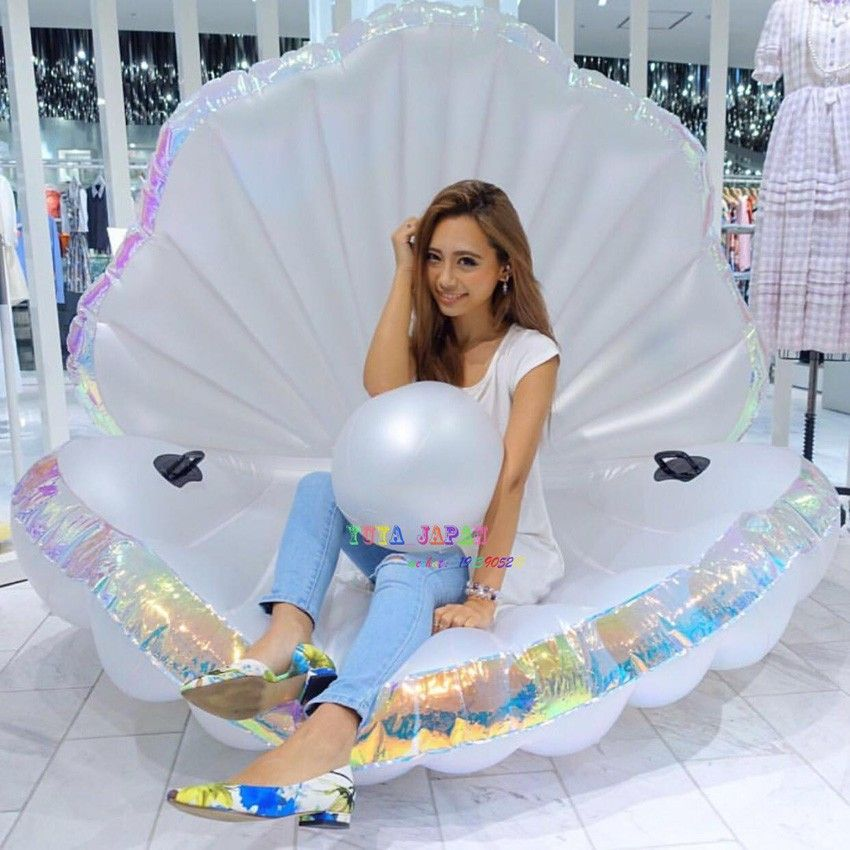 Giant Pearl Scallops Inflatable Pool Float Shell Mattress Lounger With Handle And Pearl Ball Water Sofa Party Toys Swimming Ring