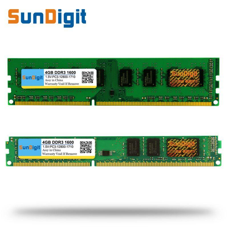 Wholesale SunDigit DDR3 1600 / PC3 12800 2GB 4GB 8GB 16GB Desktop PC RAM Memory DIMM DDR 3 1333MHz / 1066MHz PC3-12800 10600
