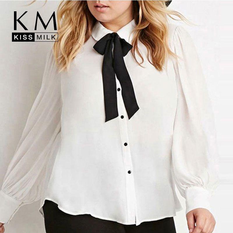 Kissmilk Plus Size New Fashion Women Bow Button Down Big Size White Long Sleeve Chiffon Preppy Style Blouse 3XL 4XL 5XL 6XL
