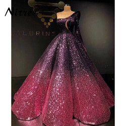 2018 Pernikahan & Gaun Malam Muslim Arab Turki Di Dubai Kain Kaftan Formal Gowns Dress Untuk Pernikahan Glitter Bling Unik