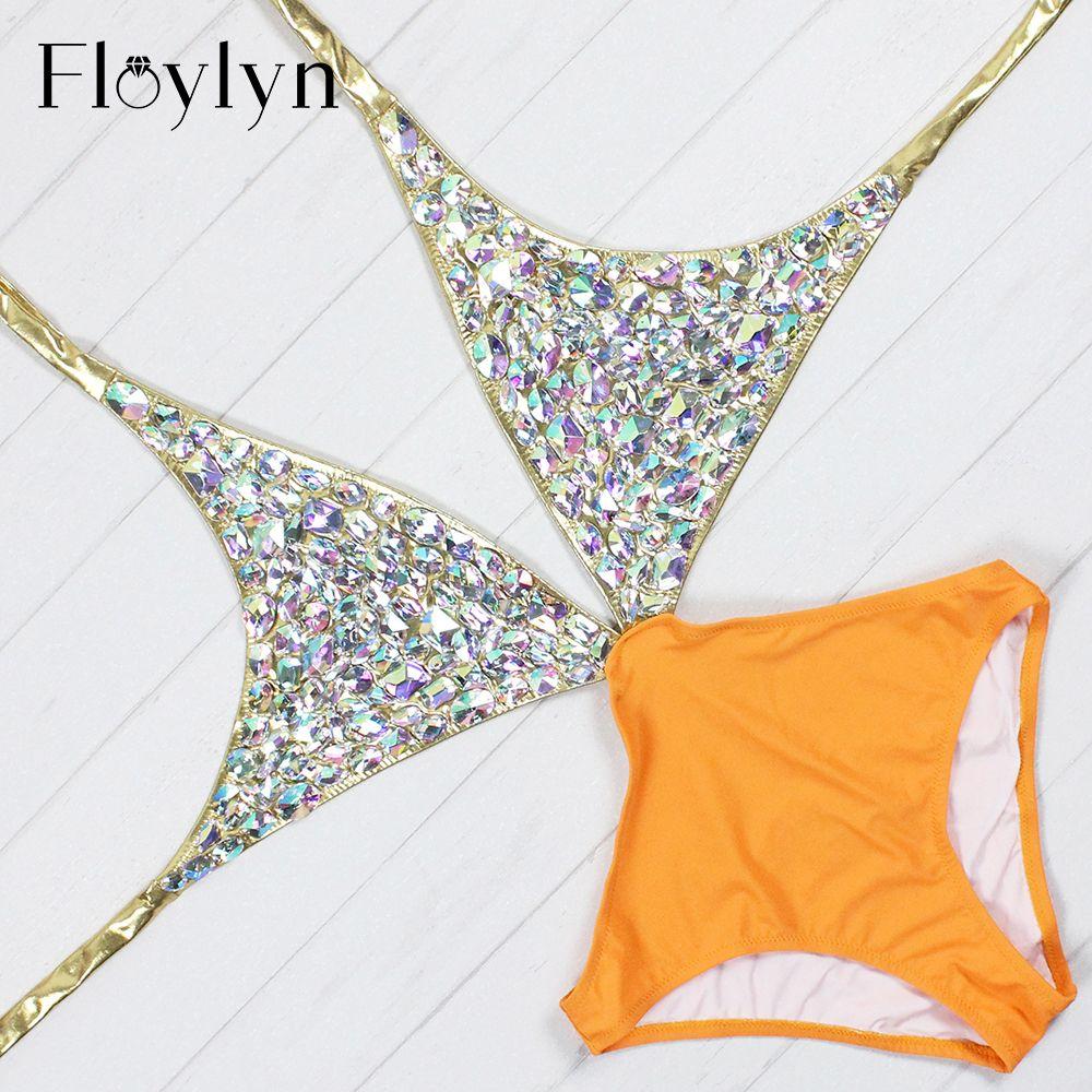 Floylyn 2017 Strass Einteiligen Frauen Badeanzug Sexy Cut Out Luxury Diamant Backless Kristall Gold Badeanzug