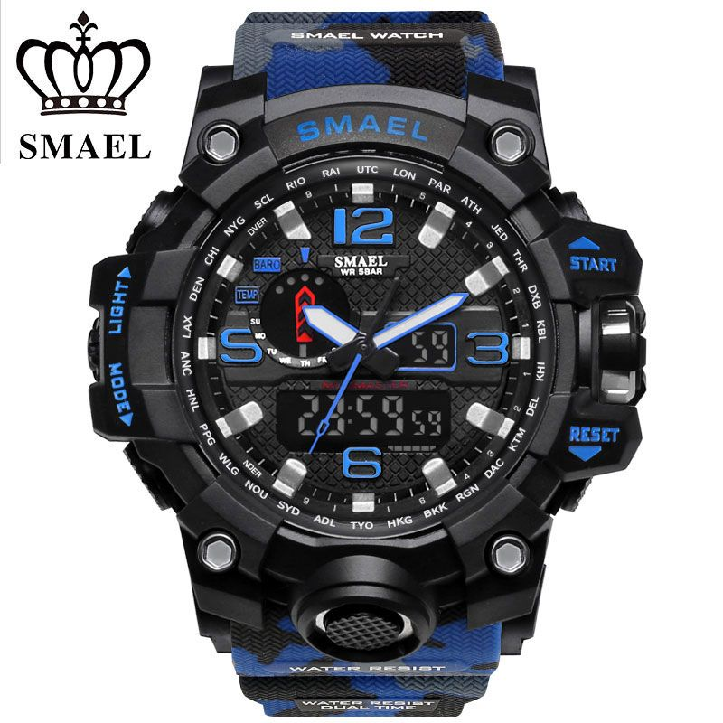 SMAEL Display Digital Watch Outdoor Sports Watches Camouflage Black Color Silicone Quartz Watch 50m Water Resistant Wristwatches