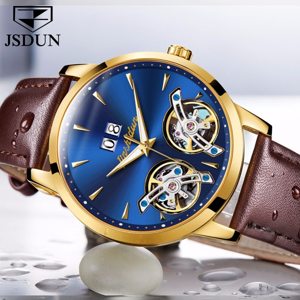 JSDUN Top Brand Luxury Watch Men Automatic Mechanical watches Double hollow Skeleton Genuine Leather Clock relogio masculino NEW