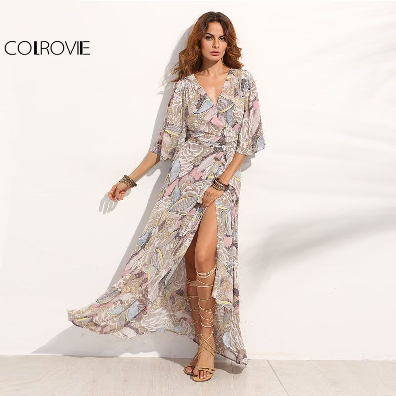 COLROVIE Floral Print Maxi Chiffon Dress Women V Neck Half Sleeve Wrap A Line Beach Sexy Dress 2018 Summer Beach Boho Long Dress