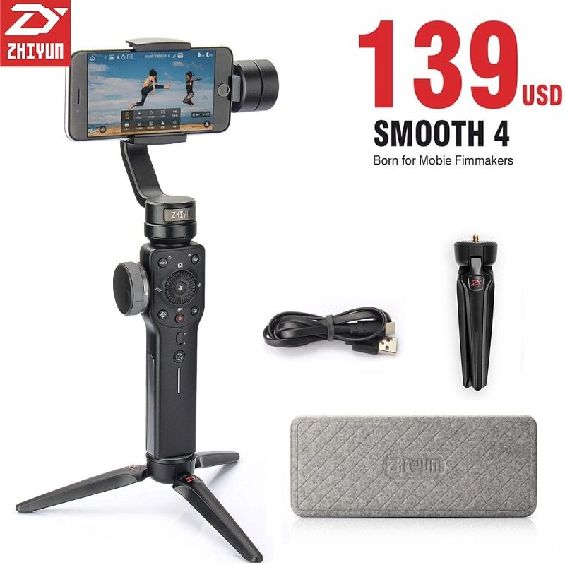 Zhiyun Smooth 4 3-Axis Handheld Stabilizer With Adapter For Smartphone iPhone Samsung Huawei E GoPro Hero 6/5/4 (In Stock)