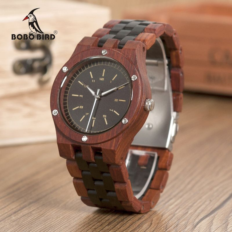 BOBO BIRD WN18 Wooden Watches Erkek Saatler Top Luxury Wood Band Quartz Watch for Men Logo Laser Customized Dropshipping