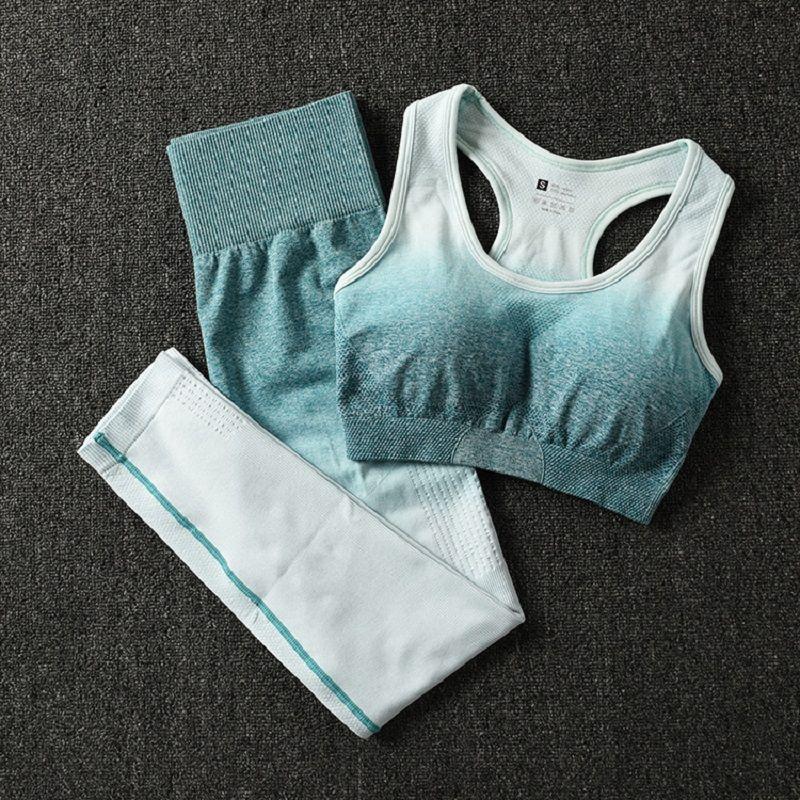 2 pièces ombre gym ensemble yoga ensembles femmes gym vêtements sport soutien-gorge et leggings femme vêtements de sport femme fitness vêtements costume