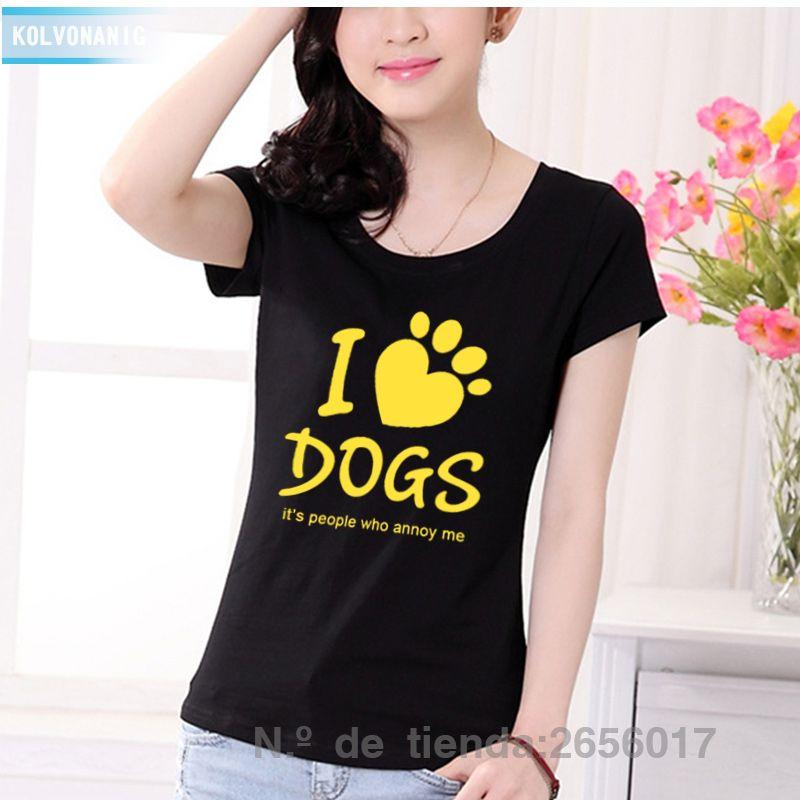 J'aime les chiens c'est les humains qui agacent les lettres imprimé T-Shirt dames Slim T-Shirt femmes 2017 mode d'été Kawaii Swag T-Shirt