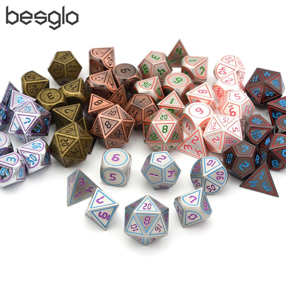 7 pièces/ensemble dés en métal avec cordon noir pochette pour donjons et Dragons RPG jeux de dés (différentes couleurs pour l'option)