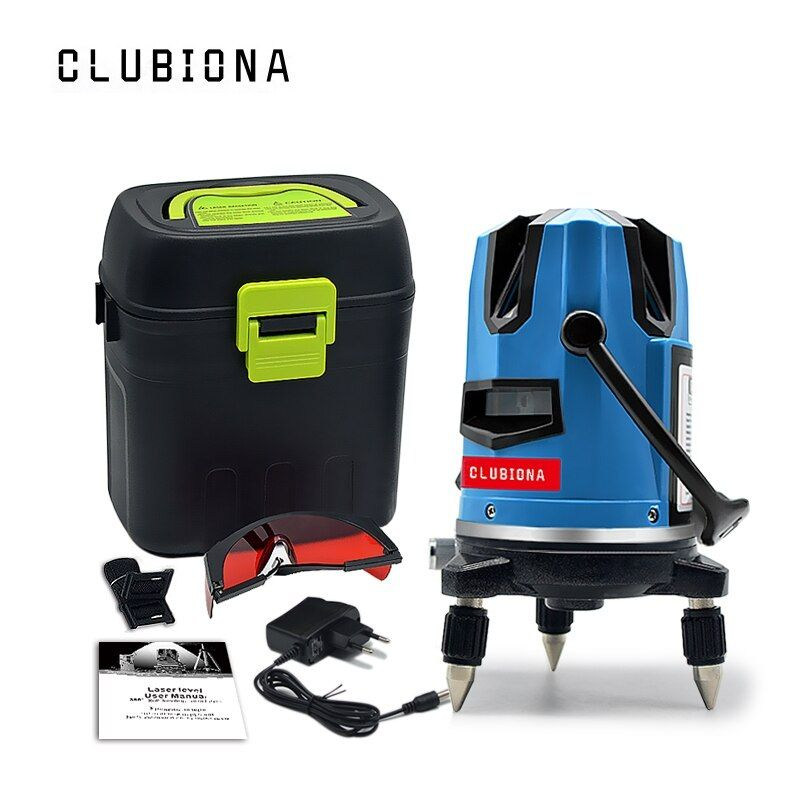 CLUBIONA 5 laser lines 6 points 360 degrees <font><b>rotary</b></font> 635nm outdoor mode - receiver and tilt slash available auto line laser level