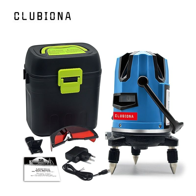 CLUBIONA 5 laser lines 6 points 360 degrees rotary 635nm outdoor mode - receiver and tilt slash available auto line laser level