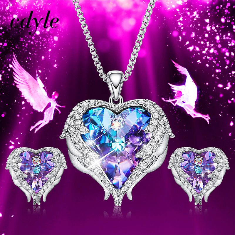 Cdyle Crystals from Swarovski Angel Wings Necklaces Earrings Purple Blue Crystal Heart Pendant Jewelry Set For Women Love Gifts