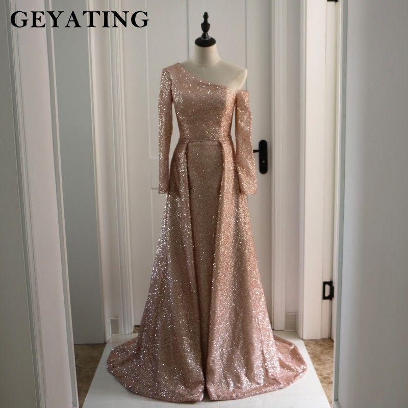Arabic Long Sleeves Evening Formal Dresses with Detachable Skirt One Shoulder Bling Rose Gold/Champagne Sequin Prom Dress Dubai
