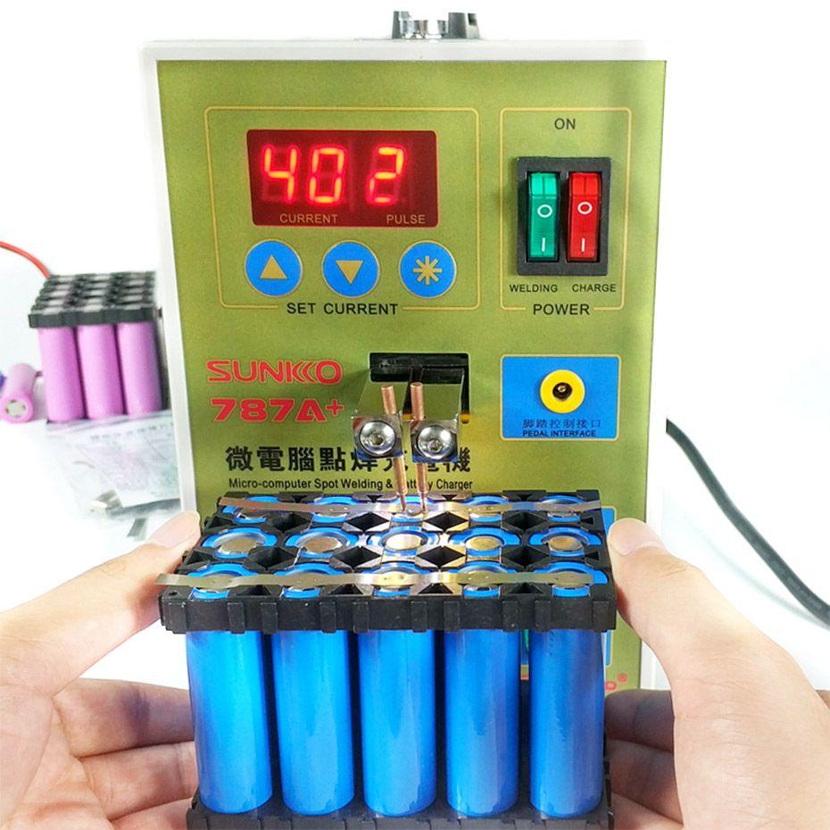 SUKKO LED Pulse Batterie Spot schweißer 787A + Spot schweißen Maschine Micro-computer 18650 micro schweißen mit LED licht + batterie Klemme