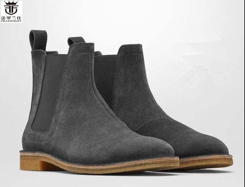 FR. LANCELOT Chelsea männer leder stiefel fashion cowboy stiefel Europa trend wildleder stiefel niedrigen ferse riding booties kleid schuhe