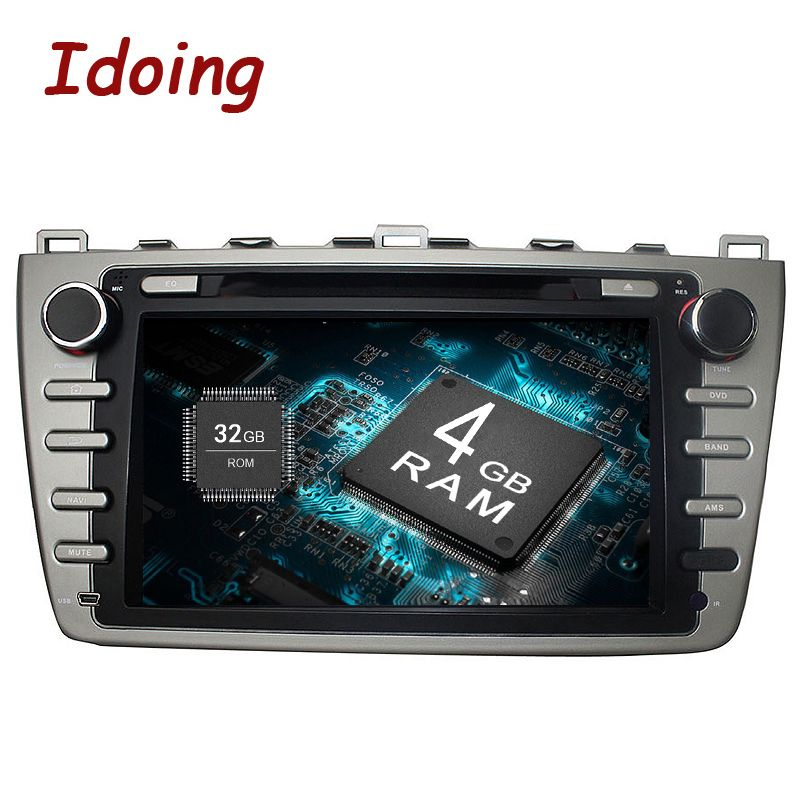 Idoing 2Din Android8.0 Steering-Wheel Car DVD Multimedia Player Fit Mazda 6 GPS Navigation 4G+32G 8 Core 1080P Bluetooth TV OBD2