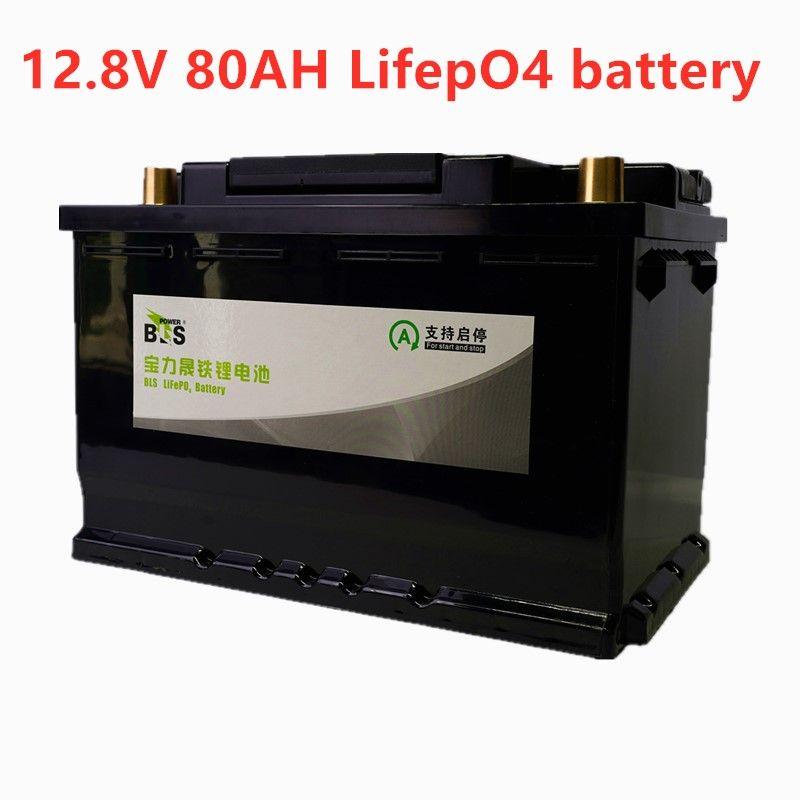 BLS 12V 80AH lifepo4 batterie BMS 4S 12,8 V zyklen lange lebensdauer Kostenloser BMS lithium-Eisen Phosphat RV boot inverter-monitor RV